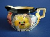 Rare Royal Doulton 'Pansies' Series Small Octagon Cream Jug D4049 c1930
